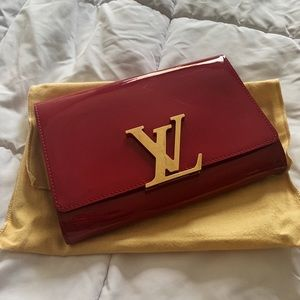 Louis Vuitton Rose Pink Patent Leather Clutch